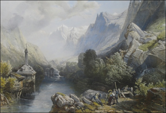 Terry, Henry John.THE VALLEY OF CHAMONIX? Cluse on the road to Chamonix. from le vieux pont.