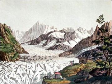 MER DE GLACE with Aiguille des Charmaux, Montanvert, Grandes Jorasses.