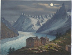 gravure Mont Blanc Mer de Glace nocturne