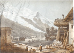156 DuBois, J. CHAMONIX AND MONT BLANC. c1850 lithograph (tinted colour). [9 x 13.5 cms.]