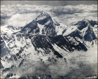 Photograph of PHOTOGRAPH OF MOUNT EVEREST signed by 12 (not Bourdillon or Evans) Members of the British Mount Everest Expedition 1953. taken by the Indian Air Force reconnaissance flight which delayed until the party was safely off the mountain.